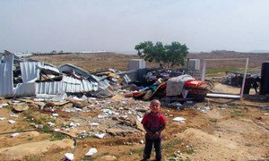 A boy in the Bedouin refugee community of Um al Khayr in the South Hebron Hills where large scale home demolitions by Israeli authorities took place. (file)