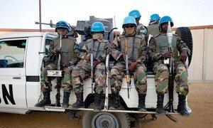 UNAMID peacekeepers from Rwanda ready to go on patrol at the Zam Zam UNAMID base, North Darfur, Sudan.