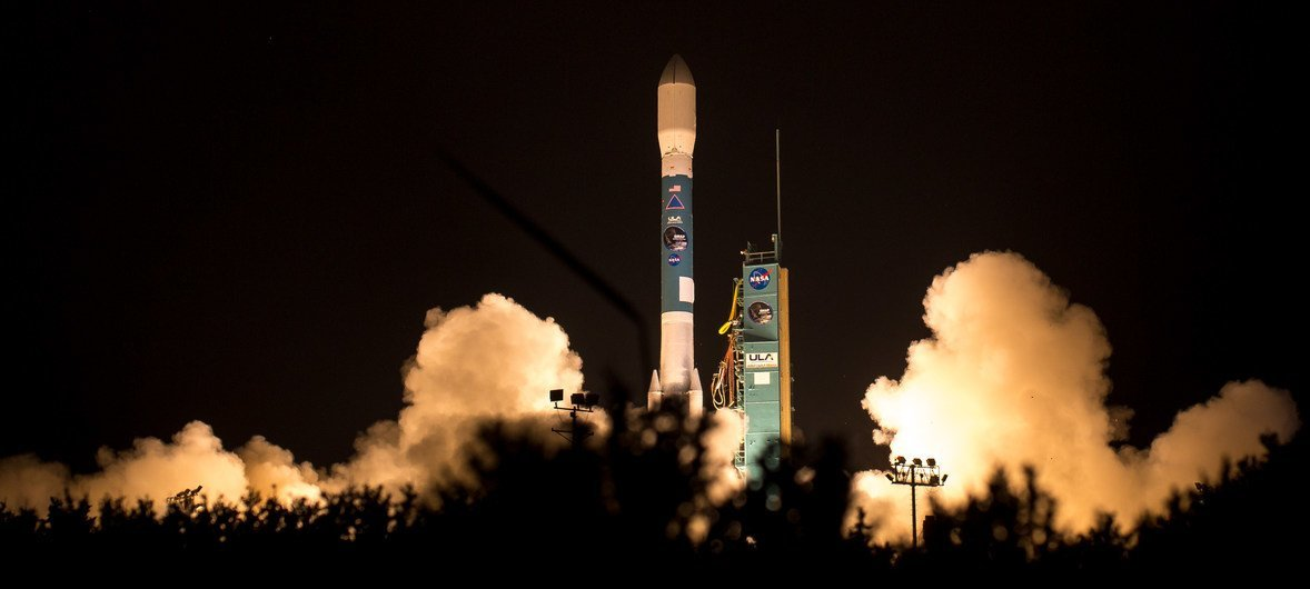 A rocket with the Soil Moisture Active Passive observatory onboard launches from Space Launch Complex 2 in California, United States.