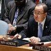 潘基文秘书长在安理会。联合国/Evan Schneider