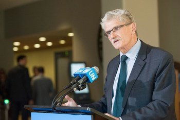 General Assembly President Mogens Lykketoft, briefs journalists following informal dialogues on 12-14 April with nine candidates for the next Secretary-General of the United Nations.