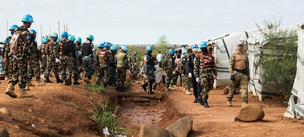 UNMISS police and military conduct integrated search operations for weapons and restricted items at Protection of Civilian sites in Juba, capital of South Sudan.