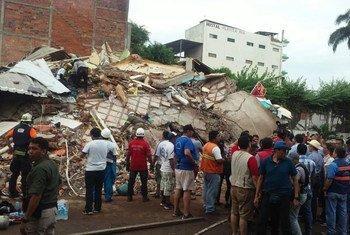 La ONU asistió a Ecuador en las tareas de socorro a los damnificados por el terremoto del 16 de abril de 2016.