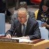 秘书长索马里问题特别代表迈克尔·基廷在向安理会通报索马里的最新局势。联合国/Loey Felipe