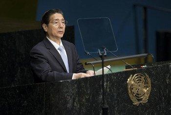 中国国务委员、公安部部长郭声琨在2016年世界毒品问题特别联大一般性辩论中发言。联合国/Manuel Elias