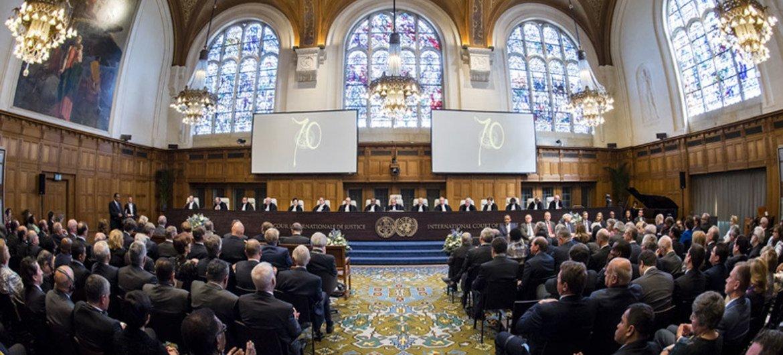 الاحتفال الرسمي في محكمة العدل الدولية  في لاهاي، بمناسبة الذكرى ال70 لإنشاء المحكمة. المصدر: فرانك فان بيك / صور الأمم المتحدة / محكمة العدل الدولية