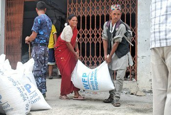At the Jalbire distribution centre in Nepal, each family received cooking oil, rice and lentils, which are Nepal's staple food.