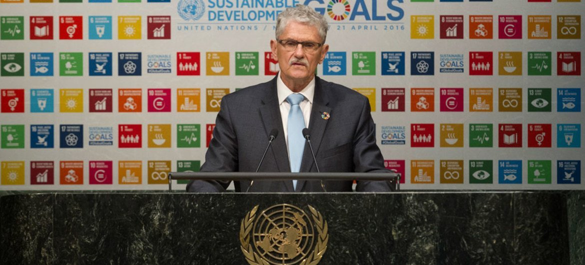 General Assembly President Mogens Lykketoft addresses the opening plenary segment of the Assembly's High-level Thematic Debate on Achieving the Sustainable Development Goals.
