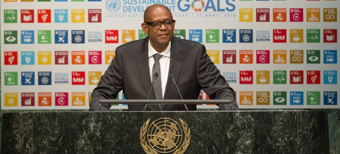 Sustainable Development Goals (SDGs) Advocate Forest Whitaker, addresses the General Assembly High-level Thematic Debate on Achieving the SDGs.