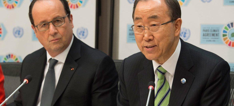 Secretary-General Ban Ki-moon (right) and President François Hollande of France brief the press.