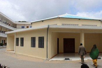 Somali judicial officers walk into the Banaadir Court Complex in Mogadishu.