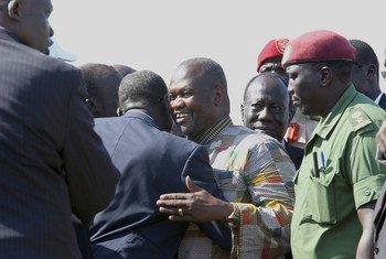 Riek Machar llega a Juba para asumir el cargo de vicepresidente de Sudán del Sur. Foto: UNMISS/Isaac Billy