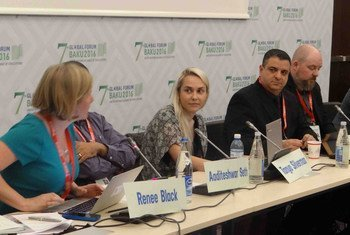 Hans Shakur, co-founder of GamesForPeace, second from right, participates in a panel discussion at the 7th Global Forum of the United Nations Alliance of Civilizations (UNAOC) held on 25-27 April 2016 in Baku, Azerbaijan.