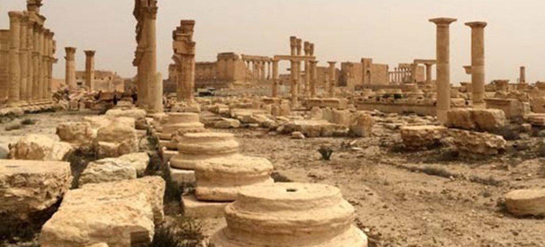 Zona destruida de Palmira, Patrimonio Mundial de la Humanidad, en Siria. Foto: UNESCO