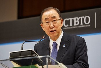 Secretary-General Ban Ki-moon speaks at a panel discussion in Vienna, marking the 20th anniversary of the Comprehensive Nuclear Test-Ban Treaty Organization (CTBTO).