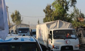 A convoy bound for East Ghouta, Syria, on 19 April 2016.
