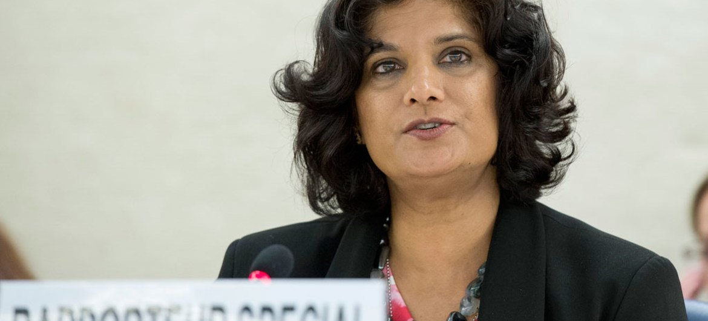 La Rapporteuse spéciale sur les formes contemporaines d'esclavage, y compris leurs causes et leurs conséquences, Urmila Bhoola. Photo ONU/Jean-Marc Ferré
