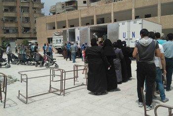 Les opérations humanitaires de l'UNRWA ont repris à Yalda, en Syrie, en mai 2016. Photo : UNRWA