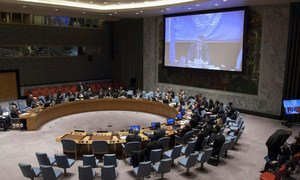 Wide view of the Security Council meeting on the situation concerning Iraq.
