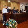 Secretary-General Ban Ki-moon addresses National Assembly of Seychelles, 8 May 2016.