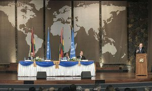 Secretary-General Ban Ki-moon (at podium) delivers remarks to the Sustainable Development Goals Stakeholders in Mauritius.