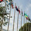 Flags outside the UN Secretariat building.