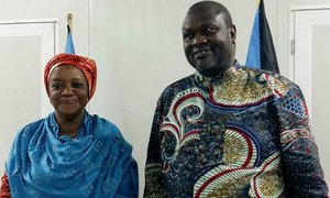 UN Special Envoy on sexual violence in conflict Zainab Bangura (left), during a meeting with South Sudan's First Vice-President Riek Machar.