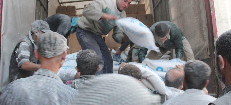 Distribución de asistencia humanitaria en Ghouta Oriental. Foto de archivo: OCHA
