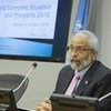 Lenni Montiel, Assistant Secretary-General for Economic Development speaks at the launch of the World Economic Situation and Prospects as of mid-2016 report at UN Headquarters.
