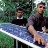 Solar panel used for lighting village homes in Sri Lanka.