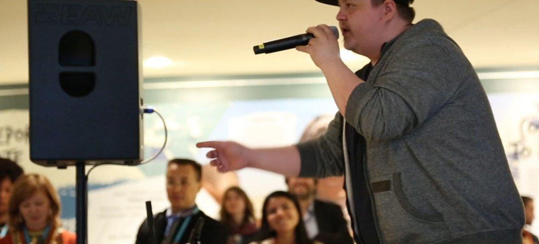 Sámi rapper SlinCraze, performs at the UN Permanent Forum on Indigenous Issues. Video screen capture