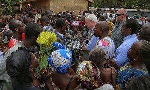 Under-Secretary-General Stephen O'Brien pays a visit to a camp in Saint Saveur, Central African Republic. MINUSCA/Nektarios Markogiannis