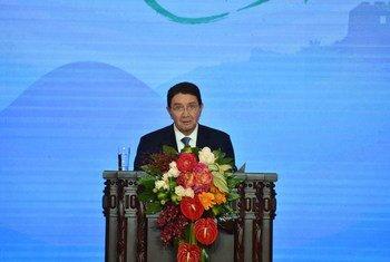 世界旅游组织秘书长瑞法伊在北京举行的首届世界旅游发展大会上发言  图片/世界旅游组织
