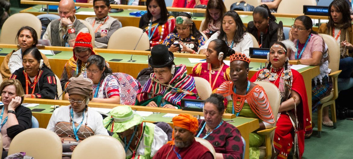 A view of participants in the General Assembly Hall during the opening ceremony of the Fifteenth Session of the United Nations Permanent Forum on Indigenous Issues.