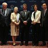 """UN Secretary-General Ban Ki-moon (right), UN Emergency Relief Coordinator Stephen O'Brien (2nd to the left) and actor Sean Penn (centre), before the screening of """"The Last Face"""" at the World Humanitarian Summit. 22 May 2016."""