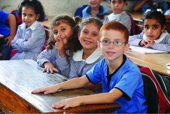 Crianças palestinas na escola.