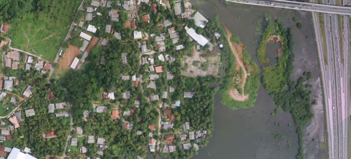 Aerial view of flooding in Sri Lanka, after Tropical Storm Roanu hit the island.