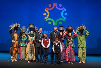 United Nation Secretary-General Ban Ki-moon and Turkish President Recep Tayyip Erdogan on stage at the closing ceremony of the World Humanitarian Summit. 24 May 2016.