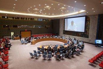 محمد بن شمباس الممثل الخاص للأمين العام ورئيس مكتب الأمم المتحدة لغرب أفريقيا ومنطقة الساحل يتحدث عبر دائرة تلفزيونية مغلقة أمام مجلس الأمن.       المصدر: الأمم المتحدة / لوي فيليبي