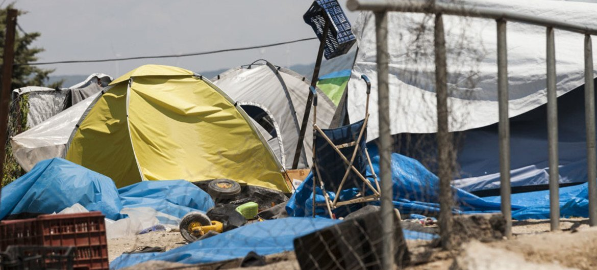 Leftover tents and other items used by refugees and migrants seen at Idomeni, during an operation by Greek authorities to clear out the makeshift refugee camp on the Greek border with the Former Yugoslav Republic of Macedonia.