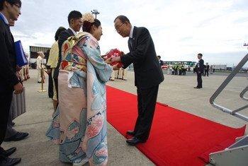 潘基文秘书长抵达日本参加伊势志摩七国集团峰会  图片:OSSG