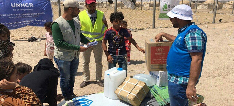 Emergency kits being distributed BY UNHCR to newly-displaced families from Falluja and al-Iraq camp, Ameriyat Al-Fallujah, Anbar, Iraq.