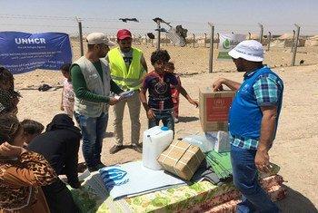 El personal de ACNUR distribuye asistencia de emergencia a las familias que han huido de Fallujah, en Iraq. Foto: ACNUR/Anmar Qusay