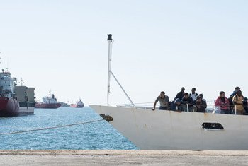 Refugees and migrants rescued at sea by the Italian coast guards after adrift in the Mediterranean Sea disembarked at the port of Augusta in Sicily, May 2016.