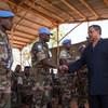 Head of MINUSMA Mahamat Saleh Annadif meeting with peacekeepers in the Gao region of Mali.