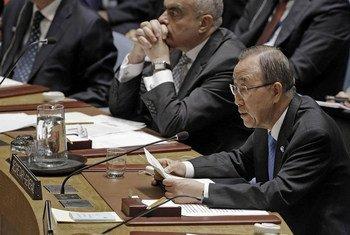 Ban Ki-moon en el Consejo de Seguridad. Foto de archivo: ONU/Evan Schneider
