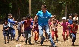 On 1 June 2016, UNICEF goodwill ambassador Ricky Martin plays football with Syrian refugee children at Al-Hissa informal refugee settlement in northern Lebanon.