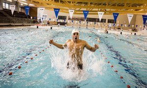 Syrian swimmer Rami Anis trains for Rio 2016 Olympic Games at the S and R Rozebroeken swimming pool in Ghent, Belgium.