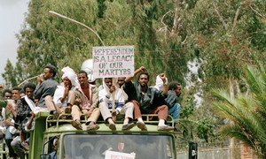 Eritreans celebrate the conclusion of the UN-supervised referendum, held from 23-25 April 1993. The majority voted for independence from Ethiopia.