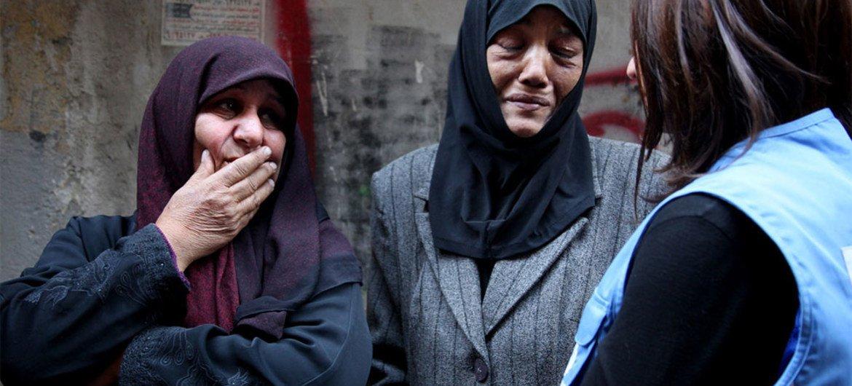 Palestinas refugiadas en Alepo, Siria.
